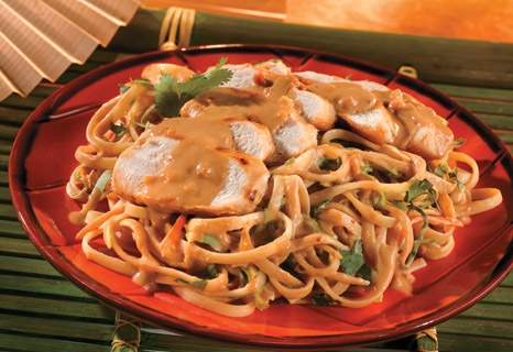 spicy peanut sauce is tossed with linguine, crunchy coleslaw mix and ...
