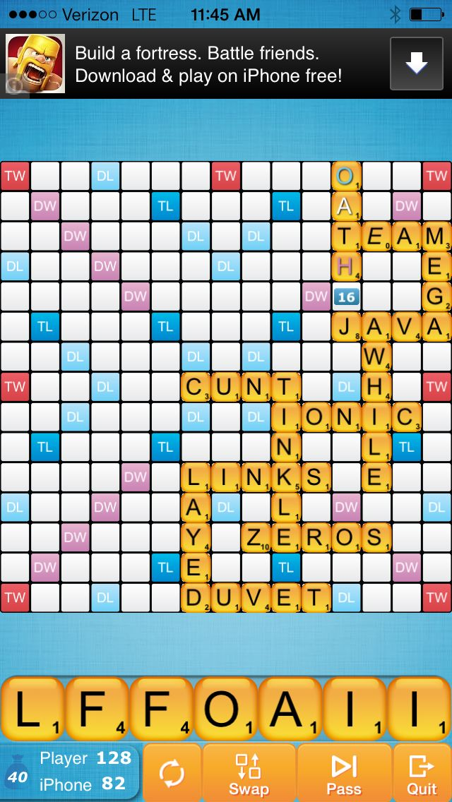 Wow scrabble the quot c quot word is acceptable and it got me 18 points