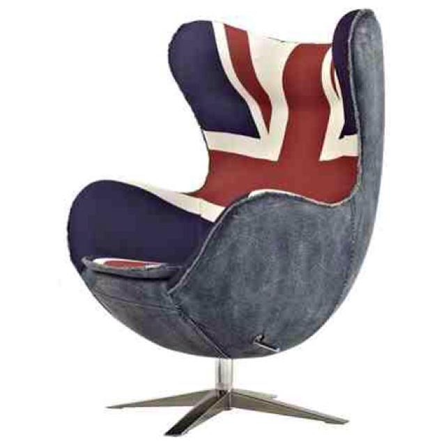 Iconic Egg Chair Union Jack and denim Egg chair