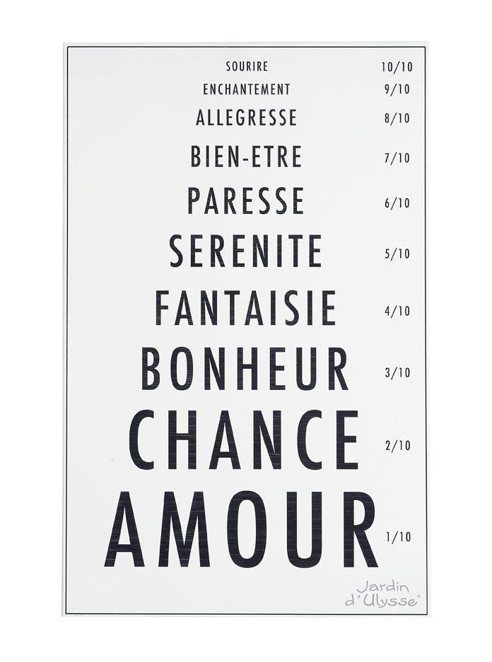 Tableau Mots Opticien - Jardin d'Ulysse - Collection Automne/Hiver 2013-14