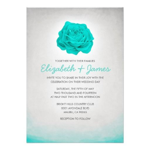 aqua wedding invite