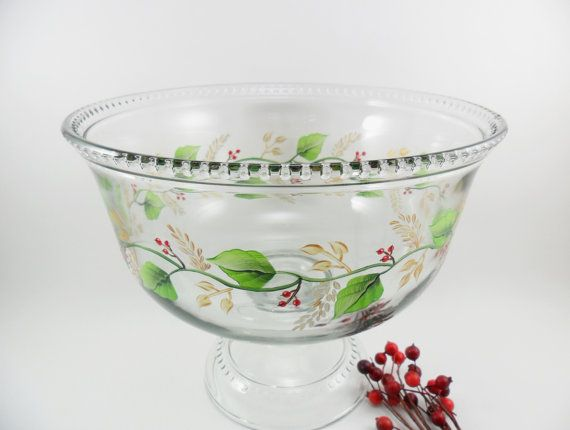 Christmas Trifle Dessert Bowl Hand Painted Leaves Berries