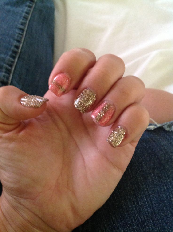 Pink squoval nails