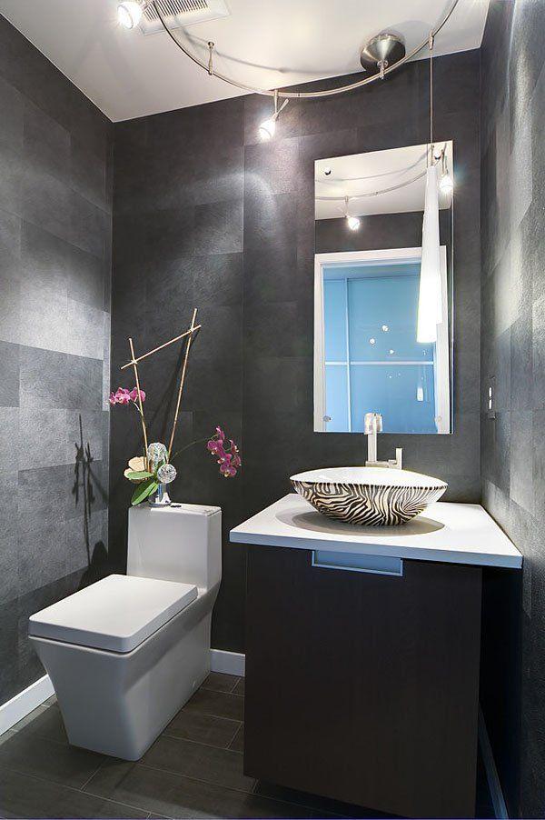 Charcoal powder room bathroom remodel ideas pinterest for Charcoal bathroom designs