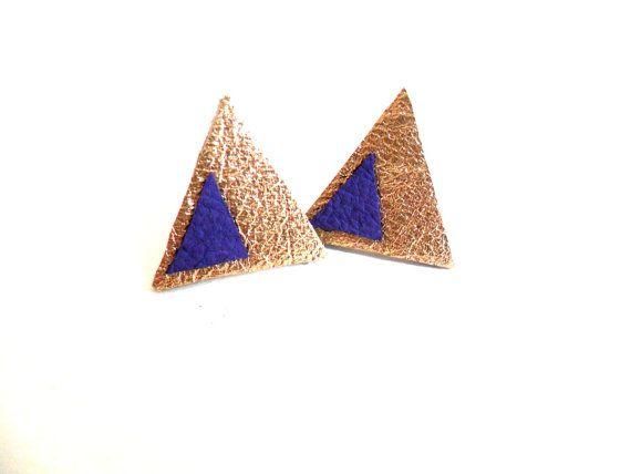 And purple triangle geometric leather earrings by fushiagold 163 7 00