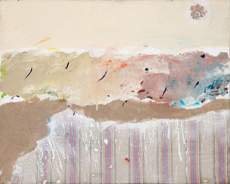Kowalski Piotr, Plaża w Unieściu, olej, piasek, odcisk łapy psa, płótno, 60 x 75,5 cm.