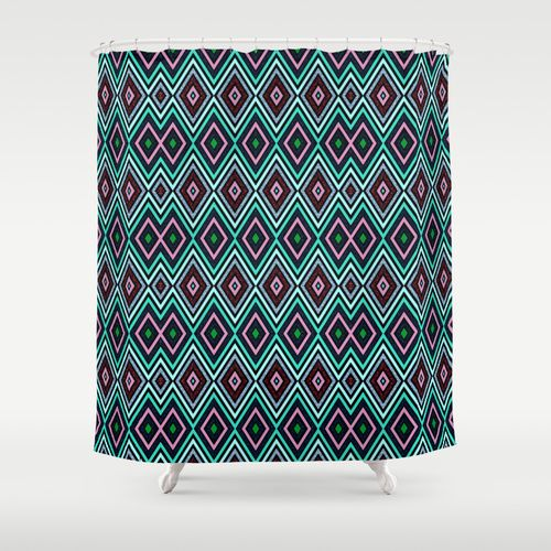 "Aqua Diamond Pattern by Webgrrl Shower Curtain 71"" by 74"" #home decor ..."