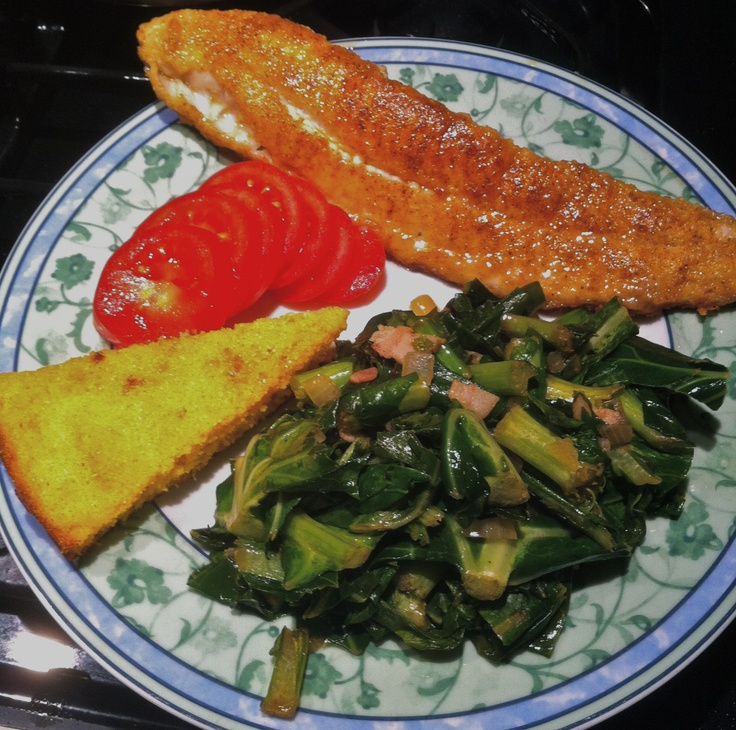 Fried Catfish And Greens Recipe — Dishmaps