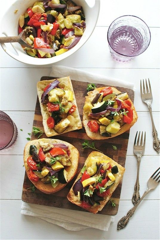 Roasted Ratatouille Toasts. This would make a great appetizer or tapas at a party