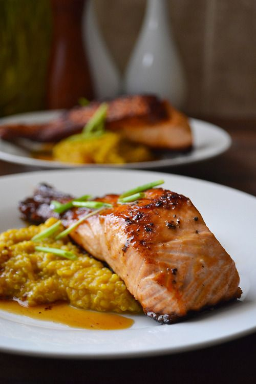 """Coconut curry squash quinoa """"risotto"""" with honey soy glazed salmon"""