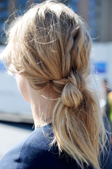 Knotted ponytail.
