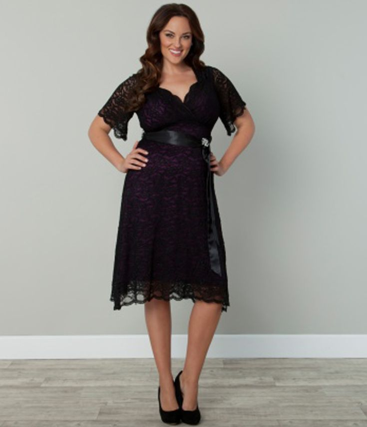 Plus Size Black & Purple Lace Retro Glam Cocktail Dress - Unique Vintage - Prom dresses, retro dresses, retro swimsuits.