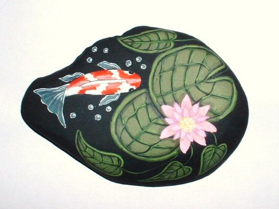Koi fish pond painted rock original for Fish pond rocks