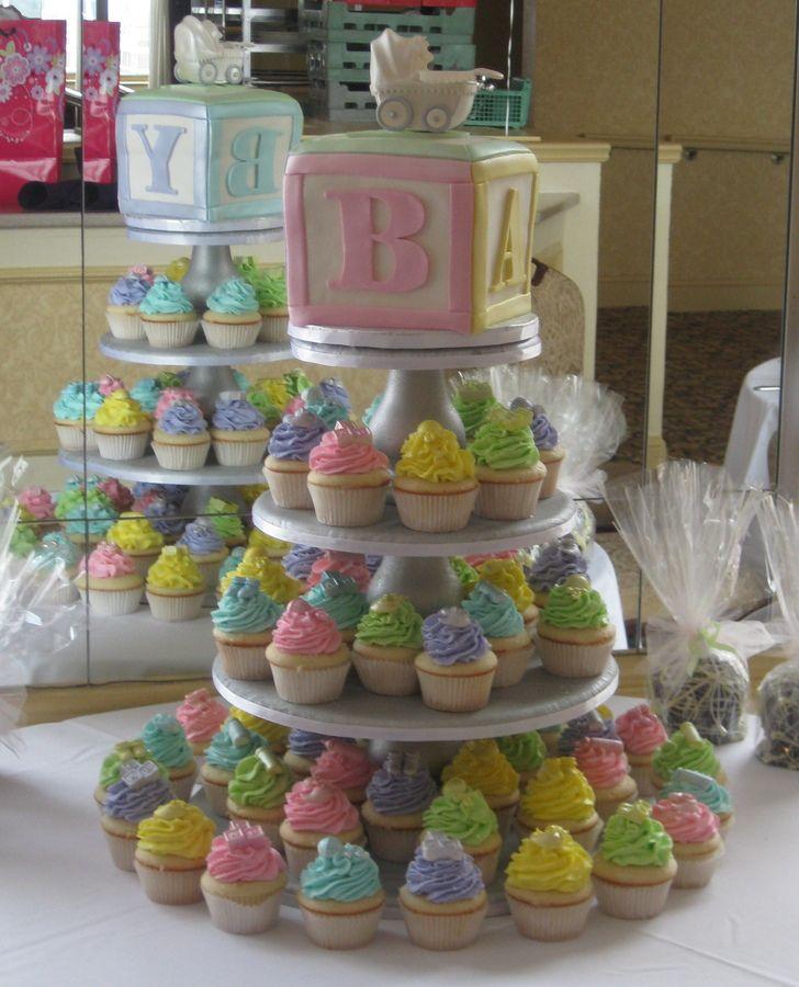 Baby Shower Cupcake Tower Ideas : Baby Block Cupcake Tower   Baby Shower Baby Shower ...