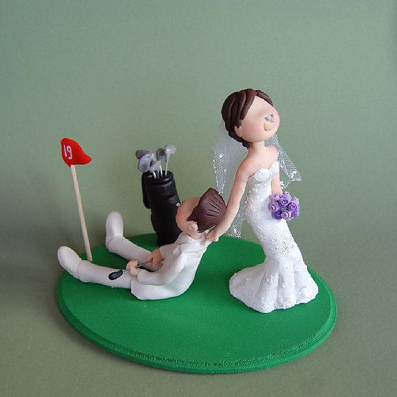 Custom Made Wedding Cake Topper - Golf