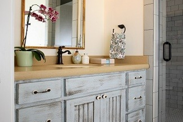 Distressed wood bathroom cabinets bathroom cabinets pinterest for Distressed wood bathroom cabinet