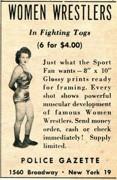 Women Wrestlers in Fighting Togs. Just what the Sport Fan wants.