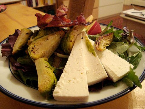 Salad with Pancetta Crisps, Roasted Brussels Sprouts, and Pear ...