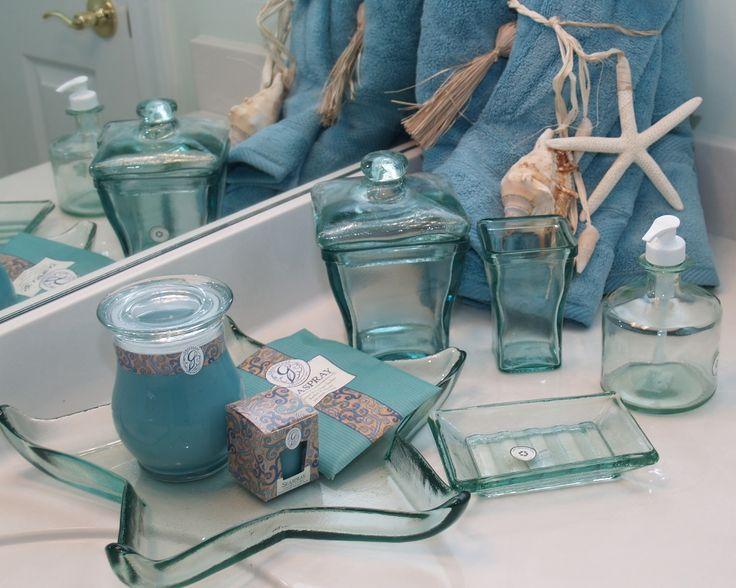 Glass Bathroom Accessories : ... recycled glass bath accessories  Sea glass ocean bathroom