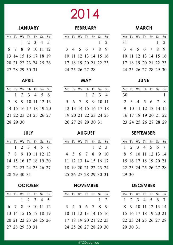2014 calendar with holidays printable