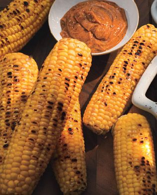 Honey Ancho Chili Butter Grilled Corn with Honey-Ancho Chile Butter ...