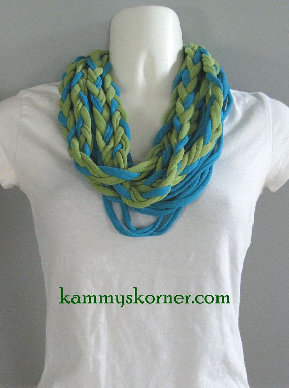 Braided Green Turquoise Infinity T Shirt Scarf/Necklace by ...