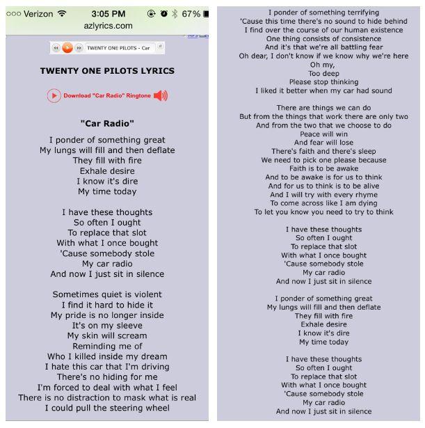 Lyrics Car Radio Comstd Pinterest