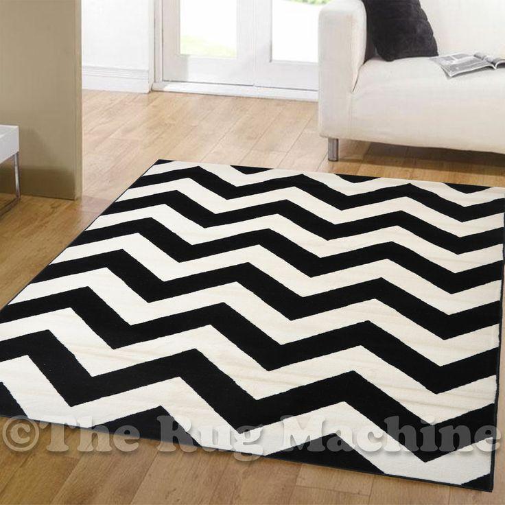 DAZZLE BLACK WHITE CHEVRON ZIG ZAG MODERN DESIGNER FLOOR RUG 160x230cm ...
