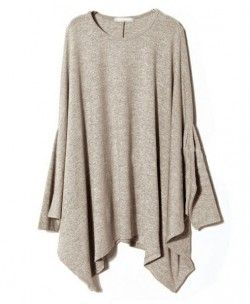 Oversized Knit Sweater with Batwing Sleeve and Pleated Draped Hem