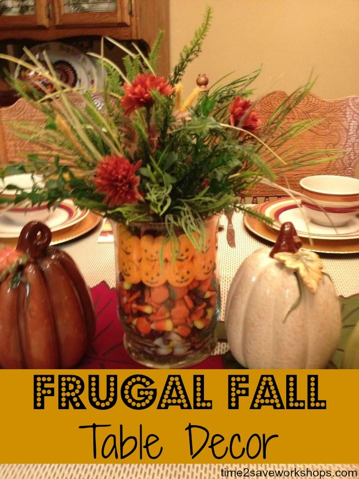 Frugal Fall Table Centerpiece on time2saveworkshops.com #fall #diy