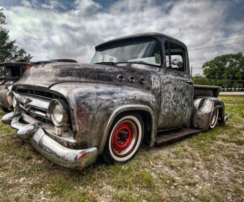 1956 ford f100 custom v8 rat rod bagged low rider air ride hot rod slammed mutha truck 39 n fords