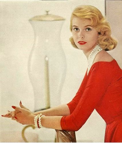 Red dress    From Ladies Home Journal, December 1955