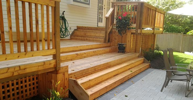 wide deck stairs google search deck pinterest