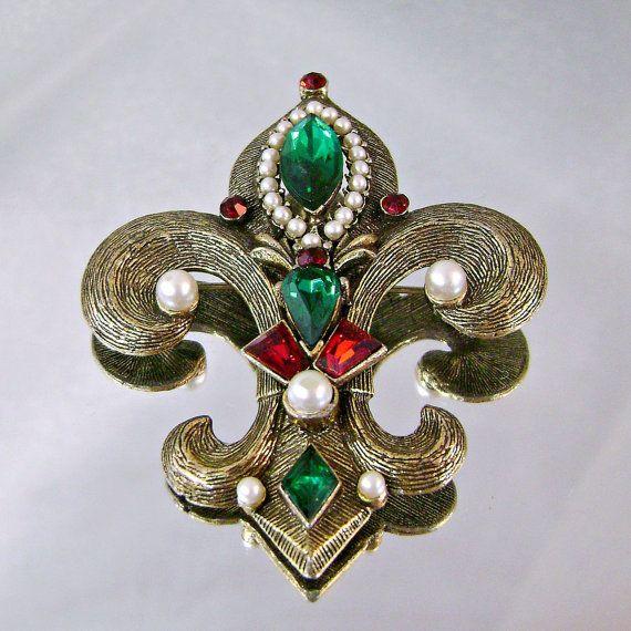 Vintage Weiss Brooch Pendant Large Fleur de Lis Pearls by waalaa, $74.99