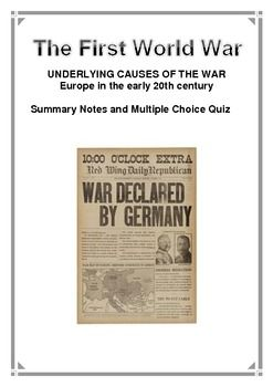world war 1 essay question