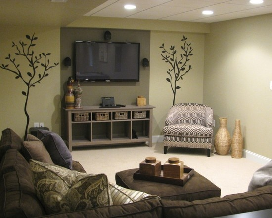 basement rec rooms ideas design sectional with accent chair and