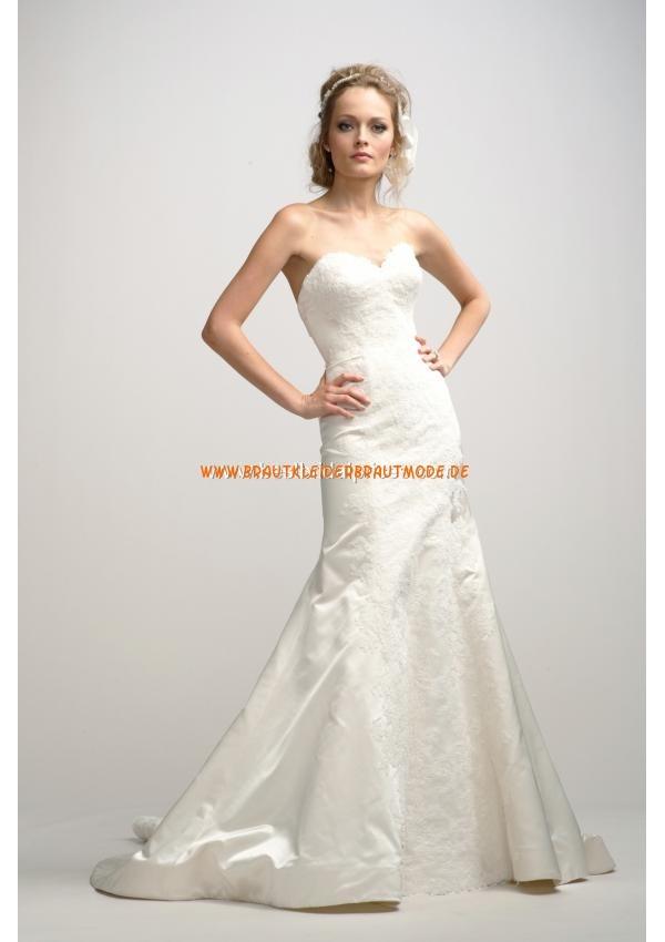 Schöne Hochzeitskleider schlicht aus Satin Meerjungfrau mit...