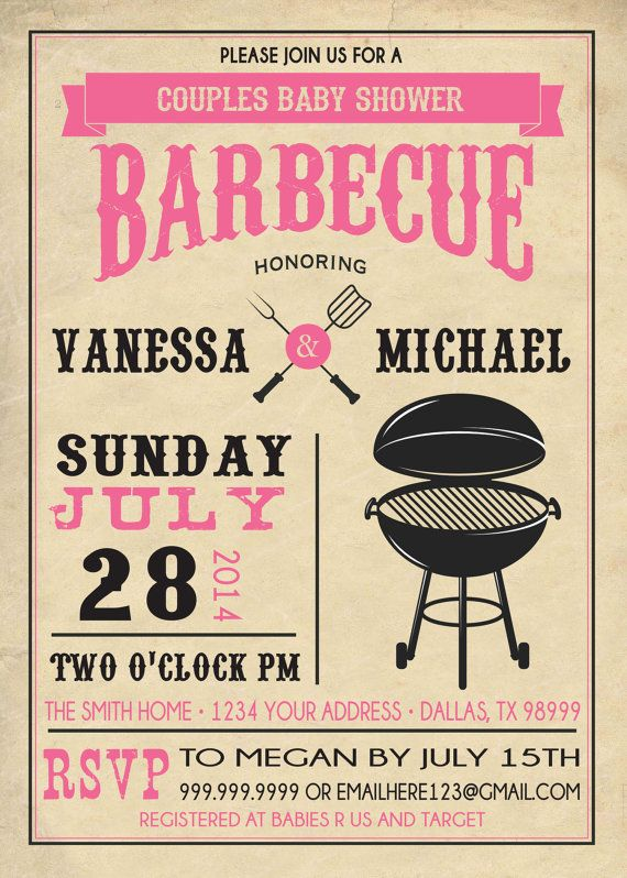 couples bbq baby shower invitation barbecue by sldesignteam