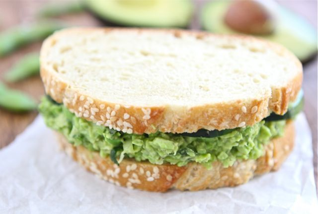 Edamame Avocado Salad Sandwich from @Maria (Two Peas and Their Pod)