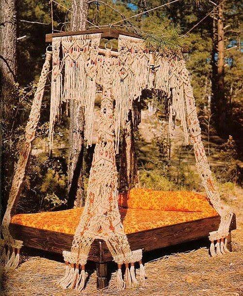 outdoor bed, bohemian, boho, crochet, canopy bed