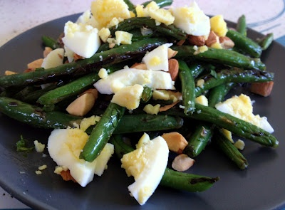 garlicky green beans, almonds, hard-boiled eggs