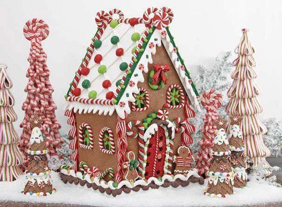 Gingerbread house ideas: ribbon candy trees... So this is pretty, but I know I'd never have enough patience not to mention enough craftiness to make it, lol!