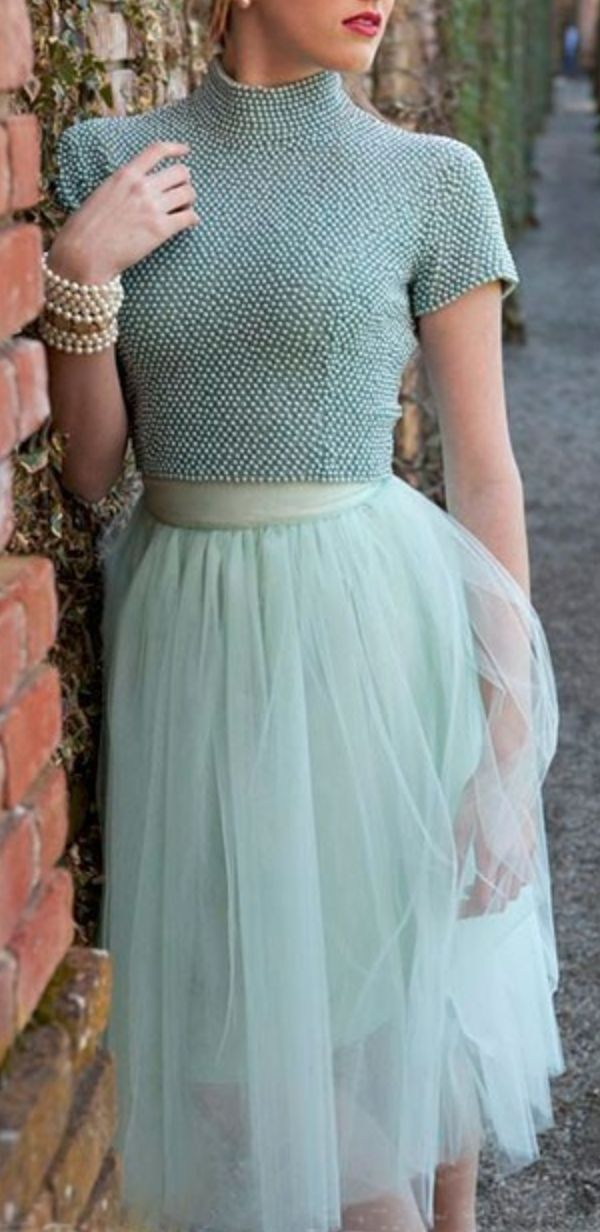 Best Women's Fashion Show, amazing glamorous mint cropped top, mint tulle skirt and accessories