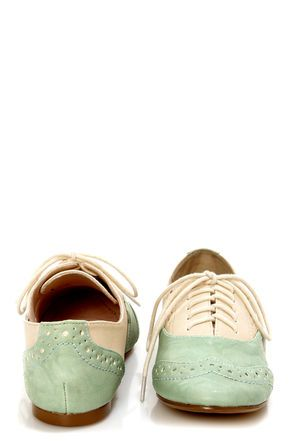restricted sweet pea ivory and mint saddle shoe flats