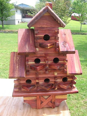 Hand made cedar bird houses 6 hole 3 hole 1 hole best for Best looking houses