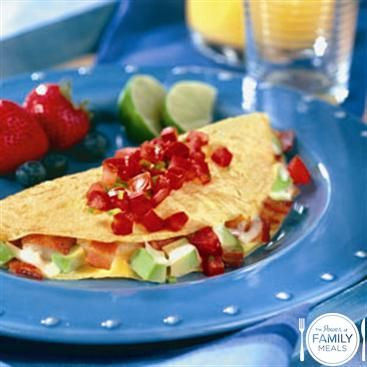 Bacon, Avocado and Cheese Omelet with Salsa by The Power of Family ...
