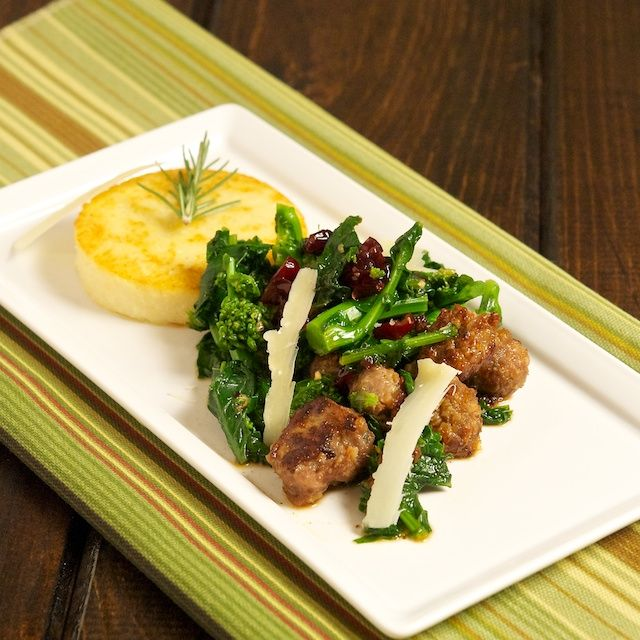 Rapini with Sausage, Cranberries and Polenta Cakes