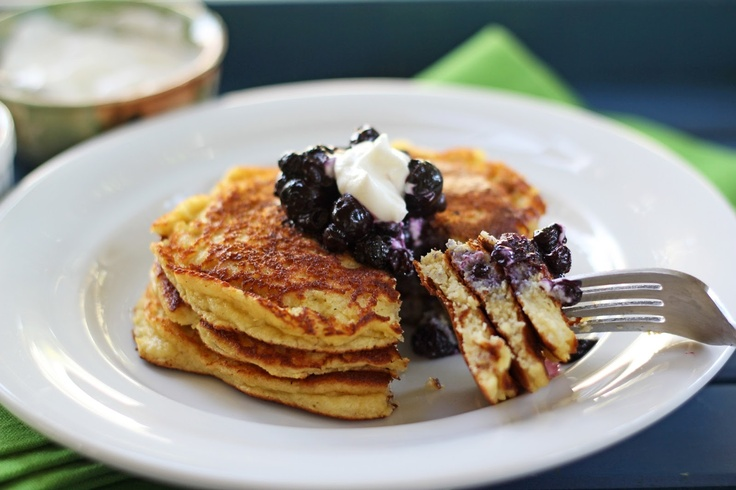 Blue Kale Road: Banana Nut Pancakes with Blueberry Compote