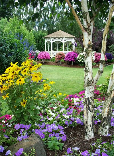 Garden bed with gazebo in the distance