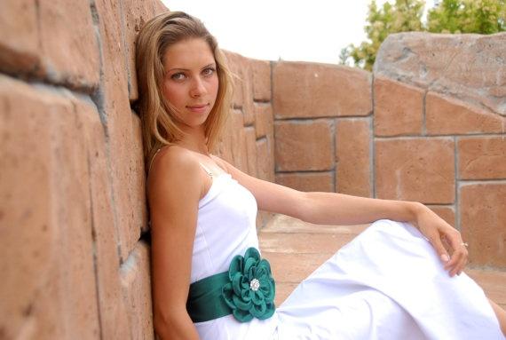 Emerald green flower wedding dress belt sash by fulyas on etsy